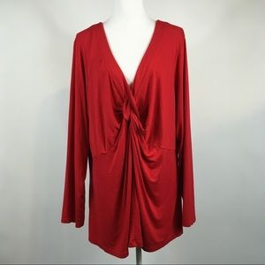 Lane Bryant Red Ruched Long Sleeve Blouse 26/28